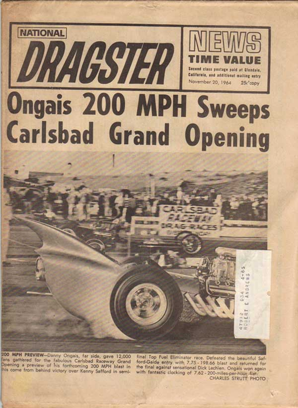 Carlsbad Race 1964 Newpaper Article