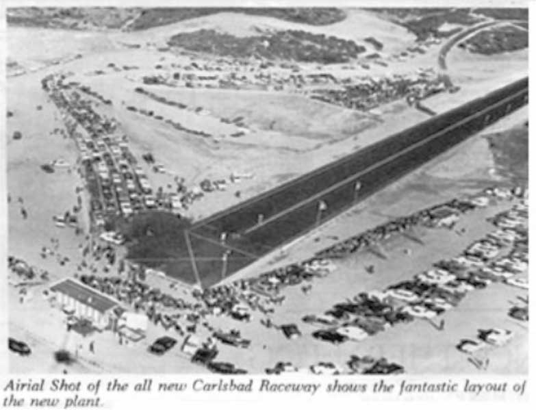 Carlsbad Raceway before the lanes were paved
